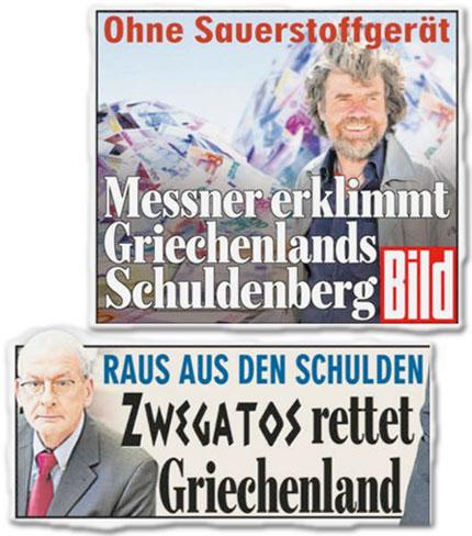 Ohne Sauerstoffgerät: Messner erklimmt Griechenlands Schuldenberg, Raus aus den Schulden: Zwegatos rettet Griechenland