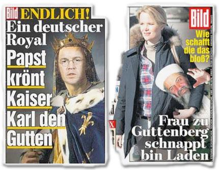 Endlich! Ein deutscher Royal: Papst krönt Kaiser Karl den Gutten, Wie schafft die das? Frau zu Guttenberg schnappt Bin Laden