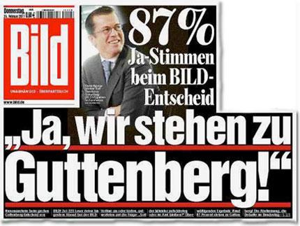 """87% Ja-Stimmen beim BILD-Entscheid: """"Ja, wir stehen zu Guttenberg!"""""""
