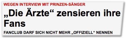 """Wegen Interview mit Prinzen-Sänger: """"Die Ärzte"""" zensieren ihre Fans"""