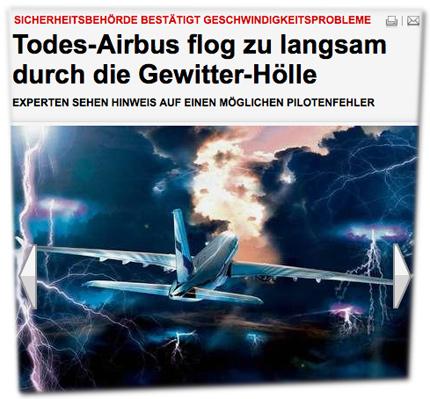 Sicherheitsbehörde bestätigt Geschwindigkeitsprobleme: Todes-Airbus flog zu langsam durch die Gewitter-Hölle - Experten sehen Hinweis auf einen möglichen Pilotenfehler
