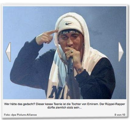 Wer hätte das gedacht? Dieser kesse Teenie ist die Tochter von Eminem. Der Rüppel-Rapper dürfte ziemlich stolz sein...
