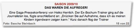 """Eine Gaga-Pressekonferenz von Heiko Herrlich. Der Ex-Bochum-Trainer ging auf die Journalisten los, fügte anschließend an: """"Drücken Sie auf Aufnahme, dass ich es meinen Kindern irgendwann zeigen kann."""" Kurz danach flog der Trainer"""