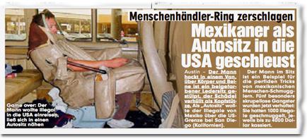 Menschenhändler-Ring zerschlagen: Mexikaner als Autositz in die USA geschleust