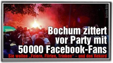 """Bochum zittert vor Party mit 50000 Facebook-Fans: Sie wollen """"Feiern, Flirten, Trinken"""" - und den Rekord."""