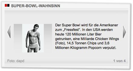 """Der Super Bowl wird für die Amerikaner zum """"Fressfest"""". In den USA werden heute 120 Millionen Liter Bier getrunken, eine Milliarde Chicken Wings (Foto), 14,5 Tonnen Chips und 3,6 Millionen Kilogramm Popcorn verputzt."""