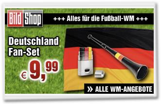 Deutschland Fan-Set: Fahne, Schminke und Vuvuzela für 9,99 Euro
