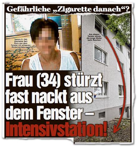 """Gefährliche """"Zigarette danach""""? Frau (34) stürzt fast nackt aus dem Fenster — Intensivstation!"""