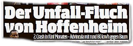 Der Unfall-Fluch von Hoffenheim 2. Crash in fünf Monaten - Advincula mit rund 80 km/h gegen Baum
