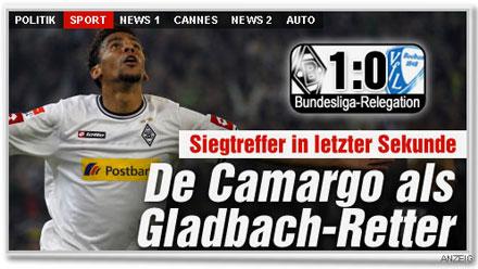 Siegtreffer in letzter Sekunde. De Camargo als Gladbach-Retter.