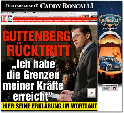 """Guttenberg Rücktritt: """"Ich habe die Grenzen meiner Kräfte erreicht"""""""