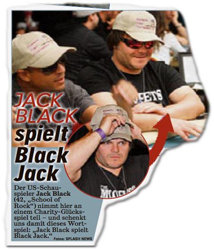 """Jack Black spielt Black Jack. Der US-Schauspieler Jack Black (42, """"School Of Rock"""") nimmt hier an einem Charity-Glücksspiel teil — und schenkt uns damit dieses Wortspiel: """"Jack Black spielt Black Jack."""""""