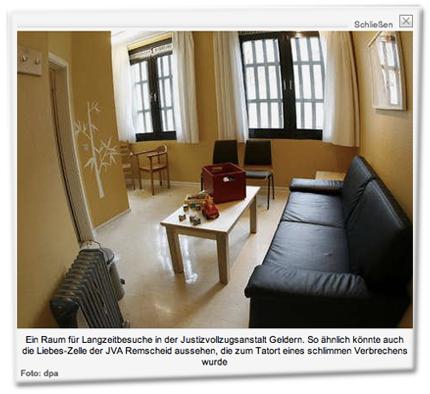 Ein Raum für Langzeitbesuche in der Justizvollzugsanstalt Geldern. So ähnlich könnte auch die Liebes-Zelle der JVA Remscheid aussehen, die zum Tatort eines schlimmen Verbrechens wurde.