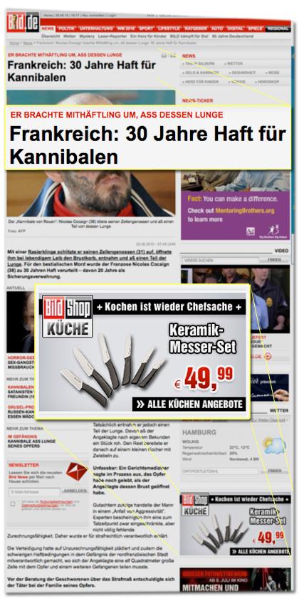 Er brachte Mithäftling um, aß dessen Lunge: Frankreich: 30 Jahre Haft für Kannibalen [...] Bild Shop Küche: Kochen ist wieder Chefsache - Keramik-Messer-Set 49,99 Euro