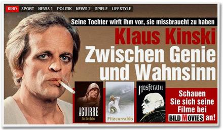 Sein Tochter wirft ihm vor, sie missbraucht zu haben. Klaus Kinski: Zwischen Genie und Wahnsinn. Schauen Sie sich seine Filme bei BILD MOVIES an!
