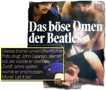 Das böse Omen der Beatles. Dieses bisher unveröffentlichte Foto zeigt John Lennon, der so tut, als würde er sterben. Zwölf Jahre später wurde er erschossen. Moral: Let it be!