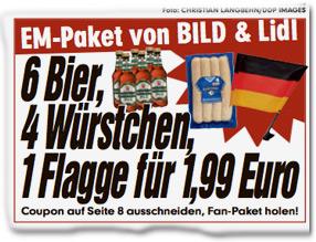 EM-Paket von BILD & Lidl: 6 Bier, 4 Würstchen, 1 Flagge für 1,99 Euro