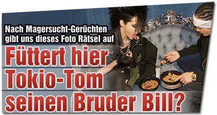 Nach Magersucht-Gerüchten gibt uns diese Foto Rätsel auf: Füttert hier Tokio-Tom seinen Bruder Bill?