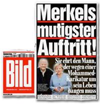 Merkels mutigster Auftritt! Sie ehrt den Mann, der wegen einer Mohammed-Karikatur um sein Leben bangen muss