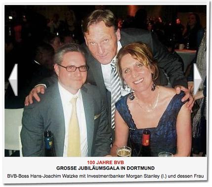 BVB-Boss Hans-Joachim Watzke mit Investmentbanker Morgan Stanley (l.) und dessen Frau