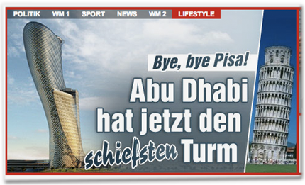 Bye, bye Pisa! Abu Dhabi hat jetzt den schiefsten Turm