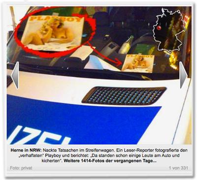 """Herne in NRW: Nackte Tatsachen im Streifenwagen. Ein Leser-Reporter fotografierte den """"verhafteten"""" Playboy und berichtet: """"Da standen schon einige Leute am Auto und kicherten""""."""