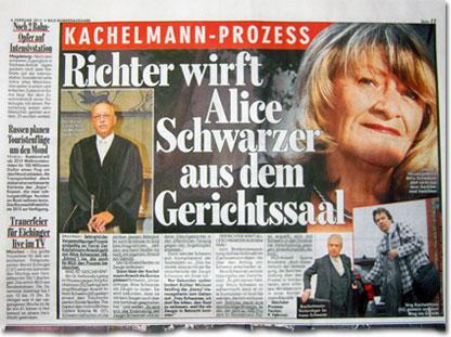 Kachelmann-Prozess: Richter wirft Alice Schwarzer aus dem Gerichtssaal.