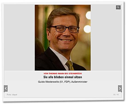Sie alle blieben einmal sitzen: Guido Westerwelle (51, FDP), Außenminister