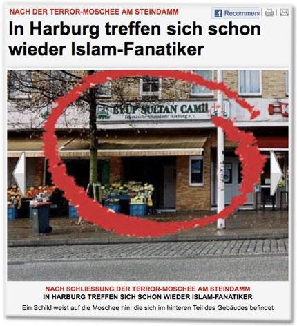 Nach der Terror-Moschee am Steindamm: In Harburg treffen sich schon wieder Islam-Fanatiker. Ein Schild weist auf die Moschee hin, die sich im hinteren Teil des Gebäudes befindet