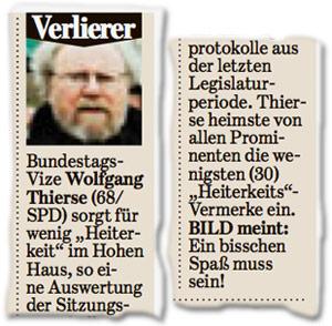 """Bundestags-Vize Wolfgang Thierse (68/SPD) sorgt für wenig """"Heiterkeit"""" im Hohen Haus, so eine Auswertung der Sitzungsprotokolle aus der letzten Legislaturperiode. Thierse heimste von allen Prominenten die wenigsten (30) """"Heiterkeits""""-Vermerke ein. BILD meint: Ein bisschen Spaß muss sein!"""
