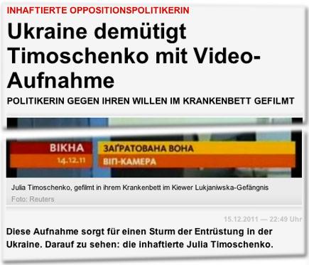 Inhaftierte Oppositionspolitikerin: Ukraine demütigt Timoschenko mit Video-Aufnahme. Politikerin gegen ihren Willen im Krankenbett gefilmt. Diese Aufnahme sorgt für einen Sturm der Entrüstung in der Ukraine. Darauf zu sehen: die inhaftierte Julia Timoschenko.