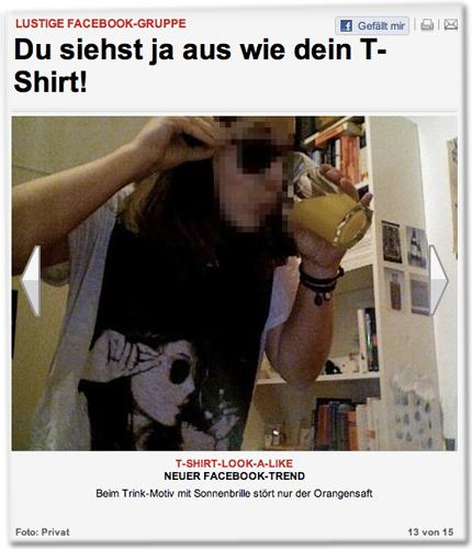 T-SHIRT-LOOK-A-LIKE. NEUER FACEBOOK-TREND.<br /> Beim Trink-Motiv mit Sonnenbrille stört nur der Orangensaft