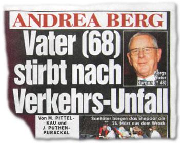 Schicksalsschlag: Andrea Bergs Vater stirbt nach einem Verkehrs-Unfall!