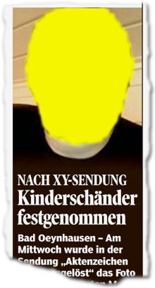 Nach XY-Sendung: Kinderschänder festgenommen