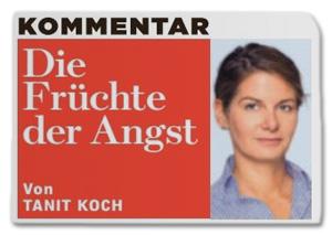 Ausriss Bild-Zeitung - Überschrift des Koch-Kommentars - Die Früchte der Angst
