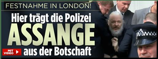 Screenshot Bild.de - Festnahme in London! Hier trägt die Polizei Assange aus der Botschaft