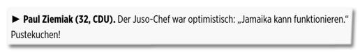 Screenshot Bild.de - Paul Ziemiak (32, CDU). Der Juso-Chef war optimistisch: Jamaika kann funktionieren. Pustekuchen!