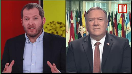 Screenshot Bild live - zu sehen sind Bild-Chefredakteur Julian Reichelt und US-Außenminister Mike Pompeo