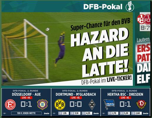 Screenshot der Bild.de-Startseite mit den Live-Ergebnissen der gerade laufenden DFB-Pokalspiele und darunter eine Anzeige des Wettanbieters bwin mit den Live-Wettquoten für die jeweiligen Spiele