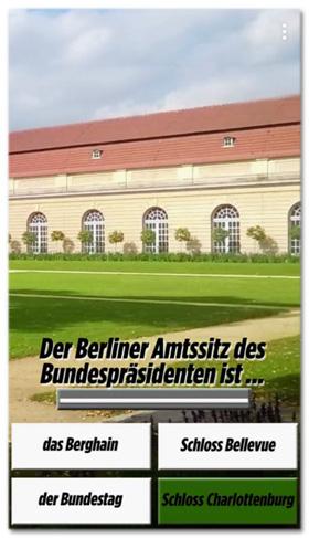 Screenshot aus dem Bild-Snapchat-Kanal - Frage: Der Berliner Amtssitz des Bundespräsidenten ist ... - die vier Antwortmöglichkeiten: das Berghain, Schloss Bellevue, der Bundestag, Schloss Charlottenburg - laut Bild richtig: Schloss Charlottenburg