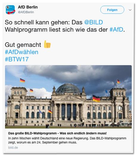 Tweet der AfD Berlin - So schnell kann es gehen: Das Bild-Wahlprogramm liest wie das der AfD. Gut gemacht