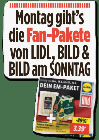 Ausriss Bild-Zeitung - Montag gibt's Fan-Pakete von Lidl, Bild und Bild am Sonntag