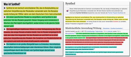 Screenshot Bild.de - Gegenüberstellung des Bild.de-Textes und des Wikipedia-Textes, die zeigt, dass Bild.de abgeschrieben hat