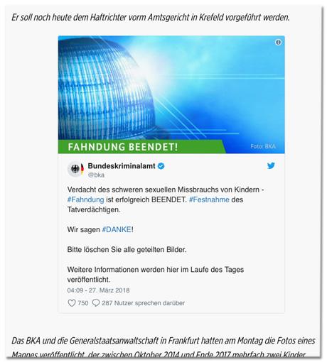 Screenshot des Bild.de-Artikels - Zu sehen ist der eingebettete BKA-Tweet