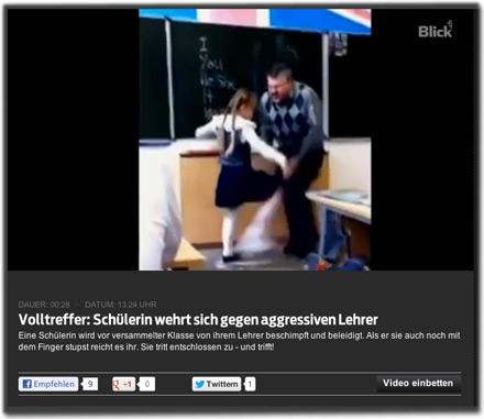 Volltreffer: Schülerin wehrt sich gegen aggressiven Lehrer. Eine Schülerin wird vor versammelter Klasse von ihrem Lehrer beschimpft und beleidigt. Als er sie auch noch mit dem Finger stupst reicht es ihr. Sie tritt entschlossen zu - und trifft!