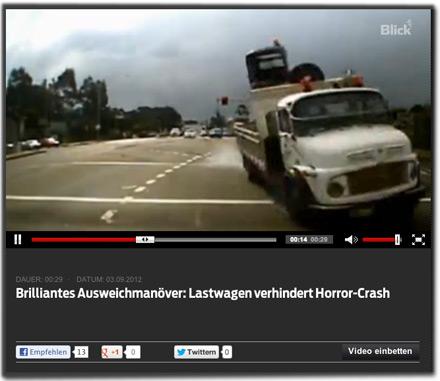 Brilliantes Ausweichmanöver: Lastwagen verhindert Horror-Crash