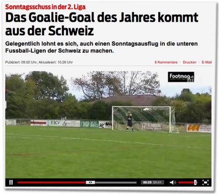 Sonntagsschuss in der 2. Liga: Das Goalie-Goal des Jahres kommt aus der Schweiz. Gelegentlich lohnt es sich, auch einen Sonntagsausflug in die unteren Fussball-Ligen der Schweiz zu machen.