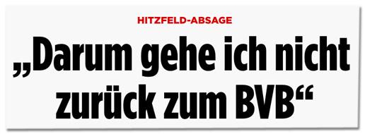 Screenshot Bild.de - Hitzfeld-Absage - Darum gehe ich nicht zurück zum BVB