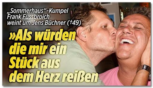 Screenshot Bild.de - Sommerhaus-Kumpel Frank Fussbroich weint um Jens Büchner - Als würden die mir ein Stück aus dem Herz reißen