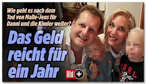 Screenshot Bild.de - Wie geht es nach dem Tod von Malle-Jens für Danni und die Kinder weiter? Das Geld reicht für ein Jahr